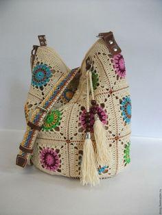 Женские сумки ручной работы. Ярмарка Мастеров - ручная работа. Купить вязаная сумка-торба, бабушкин квадрат. Handmade. Белый