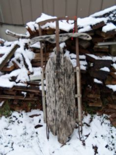 Vintage Wooden Sled with Steel Rails Great Cabin by alottocollect, $25.00