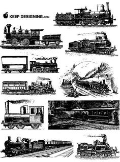 These train vector graphics are free to ride. Vintage illustrations of engines and cars on the rail – 10 of them in all. They're classic, they can be used for personal and commercial designs