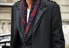 The scarf blazer combination is interesting and makes the outfit feel unique!