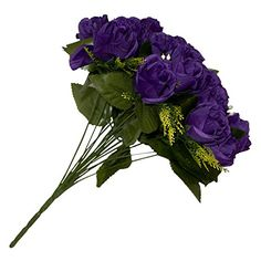 ALEKO® F18HRPR Artificial 14.5 Inch 18 Heads Silk Purple Rose Flower Bouquet. 14.5 inches long. Silk leaf and flowers. Iron wire with PE for the stems. 11 inches long stem. Beautiful and natural looking. 18 Heads. Flower color Purple.