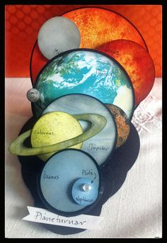 For my 6 yo nephew who loves space. All planets made with distress ink except earth. Easel Cards, 3d Cards, Pop Up Cards, Cool Cards, Fancy Fold Cards, Folded Cards, Colegio Ideas, Interactive Cards, Shaped Cards