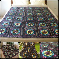Stained Glass Window Crochet Squares Blanket with Free Pattern
