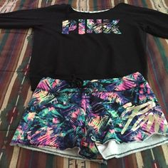 NWT VS Pink Crew&Short Set Brand new, never worn. This style sold out online. These are rare and hard to find. ❌No Trades❌Price firm ❌ Crew is a size large, shorts are a medium . Cheaper on ️️ PINK Victoria's Secret Sweaters Crew & Scoop Necks