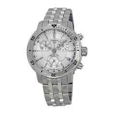 Tissot PRS 200 Chrono Silver Dial Men's watch #T067.417.11.031.00. Diving watch, Precision Swiss quartz movement, Chronograph featuring 30-minute, 1/10-second and continuous seconds subdials, Polished silver-tone hands with luminous accents and chronograph sweep seconds, Polished silver-tone hands mark subdials, Applied polished silver-tone baton markers with luminescent tips, Black Arabic numbers and indices mark subdials and form minute track/surrounding tachymeter scale, Analog date...