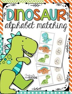 Dinosaur alphabet matching game. Capital letters are on dinosaurs and lowercase letters are on dinosaur eggs. Students match the correct two together. This activity will go great with the others in my Dinosaur Roar pack too!
