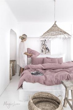 Linen bedding set in Woodrose (Dusty Pink). King/ Queen washed linen duvet cover set with 2 pillowcases. - Interiors I love - Linen bedding set in Woodrose (Dusty Pink). King/ Queen washed linen duvet cover set with 2 pillowc - Washed Linen Duvet Cover, Bed Linen Sets, Bed Sets, Duvet Sets, Duvet Cover Sets, Ikea Duvet Cover, Double Bedding Sets, Linen Bed Sheets, White Sheets