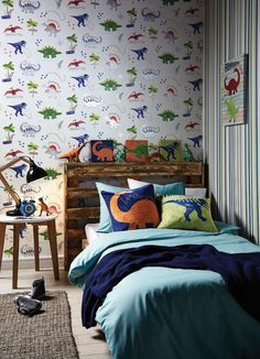 Dino Doodles - A quirky graphic-print dinosaur motif on a fresh white background with metallic accents. Team perfectly with the 'Denim Blue' co-ordinate
