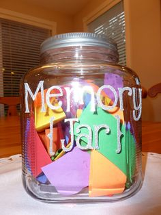 un class project for children to give to their teacher. Purchase a large jar with lid, add letters to it using stickers, cut-outs or rub on's. Then cut stripe of colorful paper to then give to the children in the class to write their favorite memory of their teacher or why they like their teacher. then place them in the jar to give as a class appreciation gift.