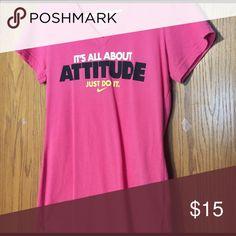 "Pink VNeck Nike Shirt Size Medium ""It's All About Attitude"" Nike Vneck Shirt Nike Tops Tees - Short Sleeve"