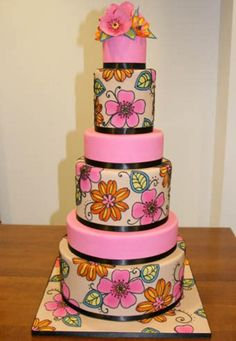 Love the bright, cheery colors on this cake
