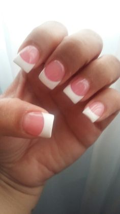 Pink and white acrylic nails. Classy nails. French nails. White tips.