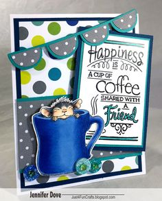 Happiness is a cup of coffee with a friend (especially if that coffee is flavored with Baileys). I have a sweet spot for this adorable. Masculine Birthday Cards, Happy Birthday Cards, Pretty Cards, Cute Cards, Cards For Friends, Friend Cards, House Mouse Stamps, Coffee Cards, Friendship Cards