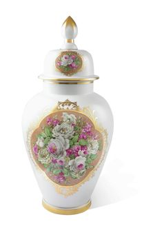 """Vase with """"bouquet of roses in white and purple"""" on a coloured ground, H 64 cm"""