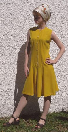 Vintage 60s Bright Lemon Zest Yellow MOD Scooter Dress by Avalon Bust 34 from nowandthenstyle on etsy.com  $29.00