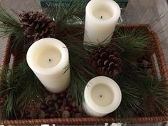 Candles and evergreens placed in a wicker tray
