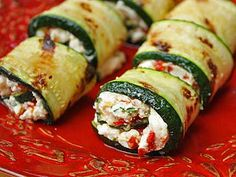 Grilled Zucchini & Goat Cheese Roll-ups - Feta Cheese would be a good substitute if you don't like goat cheese...
