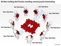 3d men holding red puzzles standing around puzzle interlocking ppt graphic icon Slide01
