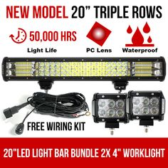 This bundle deal of LED Light Bar and CREE worklight is the perfect lighting solution for all your offroad adventures. Light Of Life, Led Light Bars, Lighting Solutions, Bar Lighting, New Model, The Row, Car, Truck, Automobile