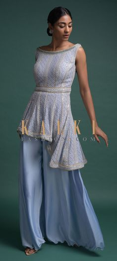 Buy Online from the link below. We ship worldwide (Free Shipping over US$100)  Click Anywhere to Tag Maya-Blue-Palazzo-Suit-In-Georgette-With-Lucknowi-Work-And-High-Low-Hemline-Online-Kalki-Fashion Kurta Palazzo, Palazzo Suit, Anarkali, Lehenga, Latest Dress Design, Dress Designs, Indian Wear, Salwar Kameez, Party Wear