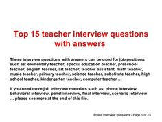 Teacher Interview Questions and Answers | Interview questions ...