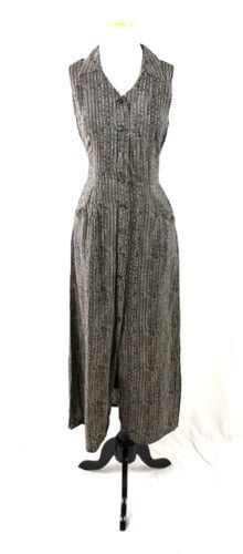 CITI YANSI FUGEL Black Tan PRINTED 100% Silk SLEEVELESS Long DRESS M 8