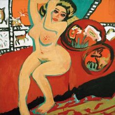 Ernst Ludwig Kirchner Seated Nude with Raised Arms, Neue Nationalgalerie, Berlin Max Beckmann, August Macke, Franz Marc, Amedeo Modigliani, Dresden, Figure Painting, Painting & Drawing, Karl Schmidt Rottluff, Chaim Soutine