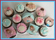 Baby Shower cupcakes ~ Made using a mix of cutters, molds and hand-building. Thanks for looking :)