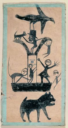 Untitled (Figures and Construction with Blue Border) Bill Traylor (c. Montgomery, Alabama c. 1941 Poster paint and pencil on cardboard 15 x Collection American Folk Art Museum, New York Gift of Charles and Eugenia Shannon, Photo by John Parnell, New York
