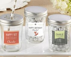 Personalized Glass Mason Jar - Kate's Woodland Birthday Collection (Set of 12)