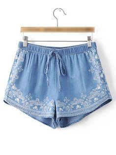 Shorts estampado cintura elástica vintage -azul