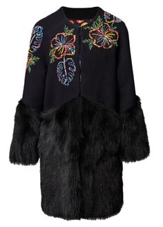 Maracas Montage Fur Trim Coat - Coats & Jackets - Matthew Williamson.