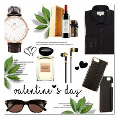 """""""Valentine's Day Gifts for Him!"""" by helenevlacho ❤ liked on Polyvore featuring Master & Dynamic, Barneys New York, Daniel Wellington, Tom Ford, Giorgio Armani, Ted Baker, men's fashion, menswear, giftguide and goldandblack"""