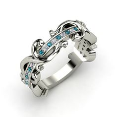 The Atlantis Eternity Ring customized in diamond, London blue topaz and white gold