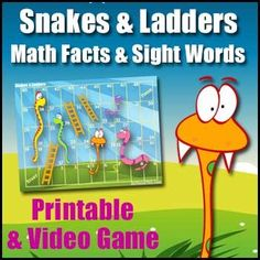 Snakes and Ladders - A FREE Video Game version and Printable version of this classic game with editable flash cards. Phonics Games, Word Games, Multiplication Games, Rainbow Facts, Printable Board Games, Addition Games, Reading Games, Math Literacy, Math Concepts