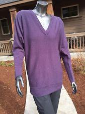Women's Golite V Neck Oversized Boyfriend Latitude Eggplant 100% Merino Sweater