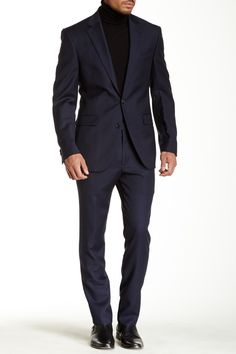 Kenneth Cole | Navy Pinstripe Two Button Notch Lapel Wool Suit//