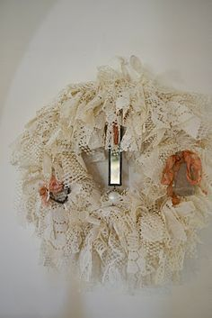 wreath from old lace tablecloth