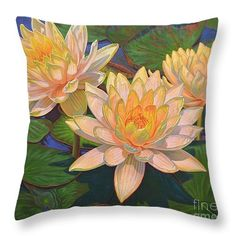"""Water Lilies 5 Throw Pillow 14"""" x 14"""" and more sizes, from original oil painting by Fiona Craig at www.fionacraig.com 'Prints Shop'."""