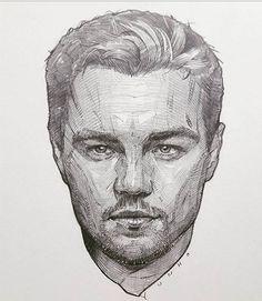 Leonardo Di Caprio, by Yunho Cross hatched Portrait Sketches, Pencil Portrait, Portrait Art, Drawing Sketches, Pencil Drawings, Art Drawings, Sketching, Figure Drawing, Painting & Drawing