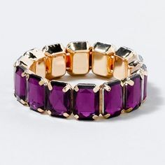Gem Gold Back Stretch Bracelet - Claire's