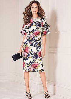 Frill Sleeve Shift Dress #kaleidoscope #floral #loveflorals