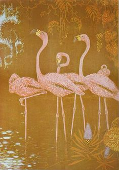 Flamingos - HENRI VERSTIJNEN - woodcut printed in colors Flamingos was printed from four blocks and is so inscribed. 1941
