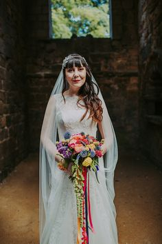 Bride Bridal Dress Gown Lace Veil Colourful Indie Dinosaur Wedding http://bloomweddings.co.uk/