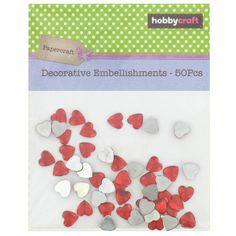 Hobbycraft Decorative Embellishment Hearts 50Pcs 8 mm Red