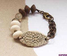Beige bracelet earth tone ceramic bead bo hulley by esferajewelry, $35.00