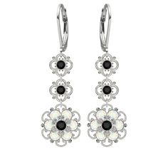 Lucia Costin Silver Black White Earrings