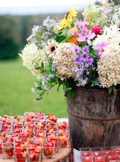 fruit cups and a natural arrangement for a spring or summer party