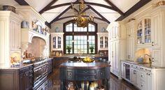 Farmhouse Kitchen Designs love mixture of white, wood and black, love the dark wood flooring..
