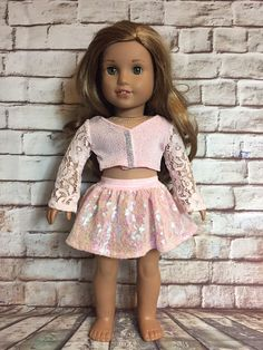 Excited to share this item from my shop: American Girl Pretty Pink Shimmer Lace Sparkles Skirt Set Ropa American Girl, Custom American Girl Dolls, American Girl Doll Pictures, American Doll Clothes, Girl Doll Clothes, Doll Clothes Patterns, Barbie Clothes, Dress Patterns, Fitness Workouts